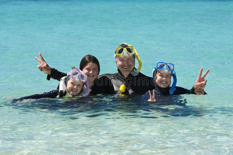 Snorkelling Family stock photography
