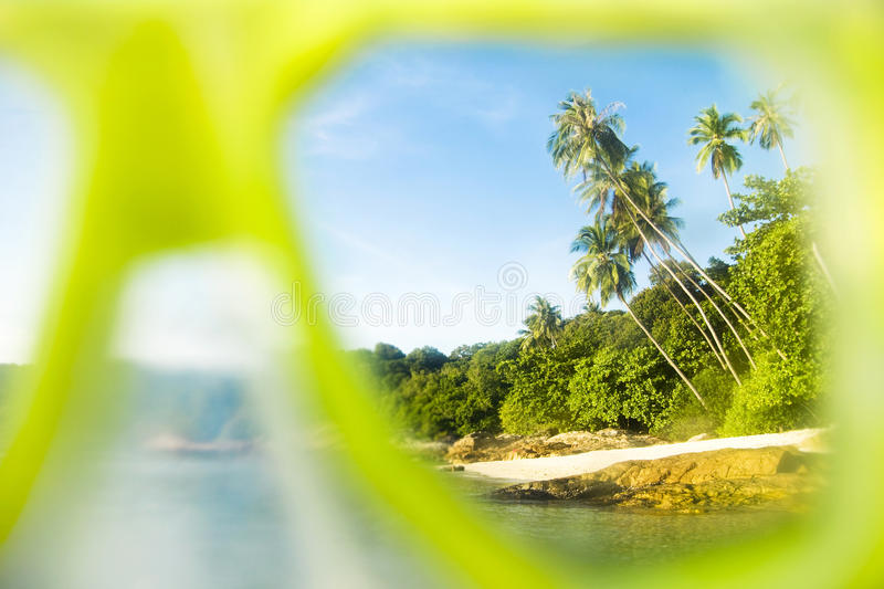 Snorkelling off an Idyllic Palm Fringed Island Concept stock photography