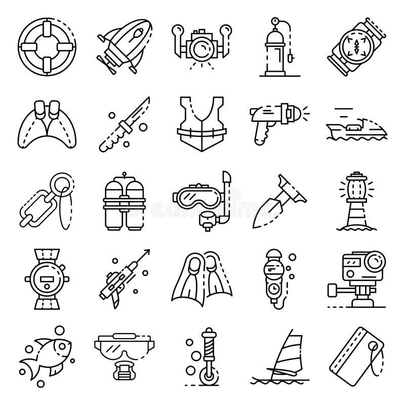 Snorkla utrustningsymbolsuppsättningen, översiktsstil vektor illustrationer