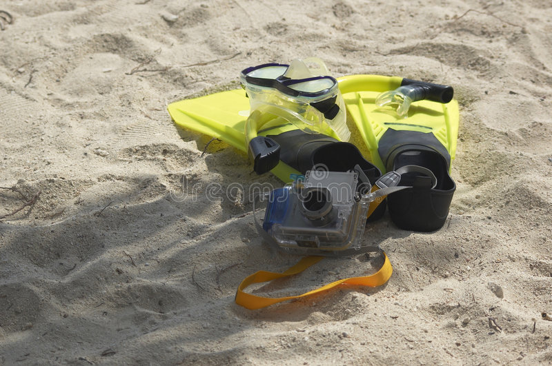 snorkling照相机的齿轮 免版税库存图片