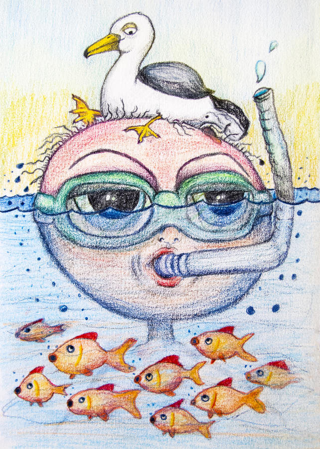Snorkling cartoon drawing royalty free stock images