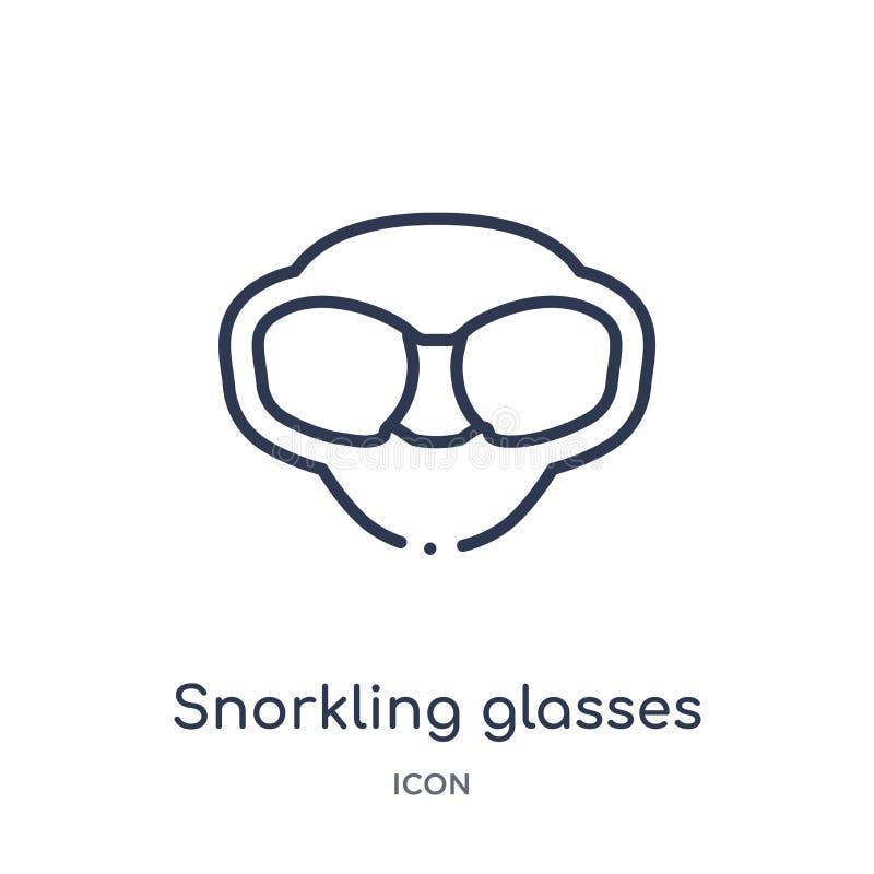 Snorkling szkieł ikona od nautycznej kontur kolekcji Cienieje kreskową snorkling szkło ikonę odizolowywającą na białym tle ilustracja wektor