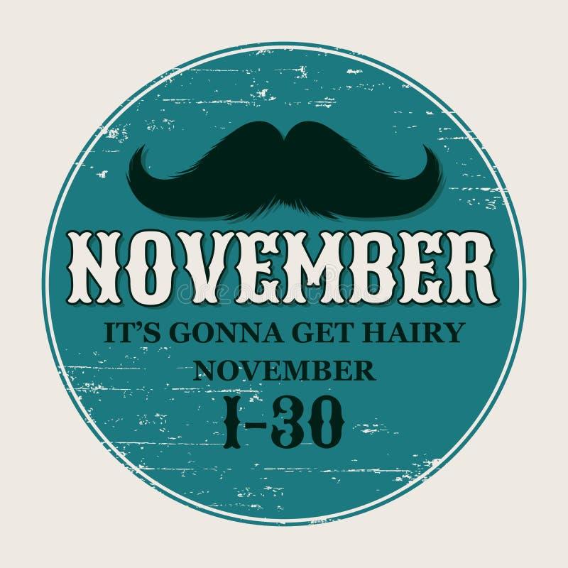 Snorrenaffiche Ronde of Cirkelsticker voor November-Uitdaging De zwarte isoleerde Silhouet en Hand het Getrokken Van letters voor stock illustratie