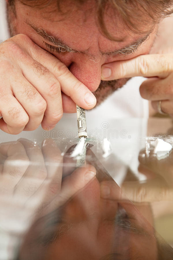 Snorting Cocaine stock image