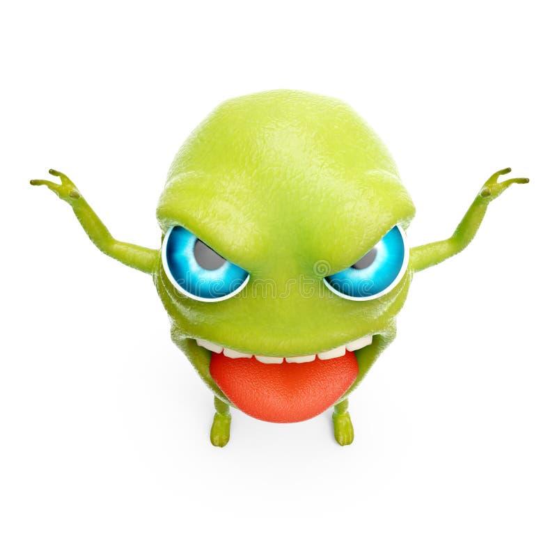 Snot slime monster. Cartoon 3d slime monster scares raising his hands. 3d illustration stock illustration