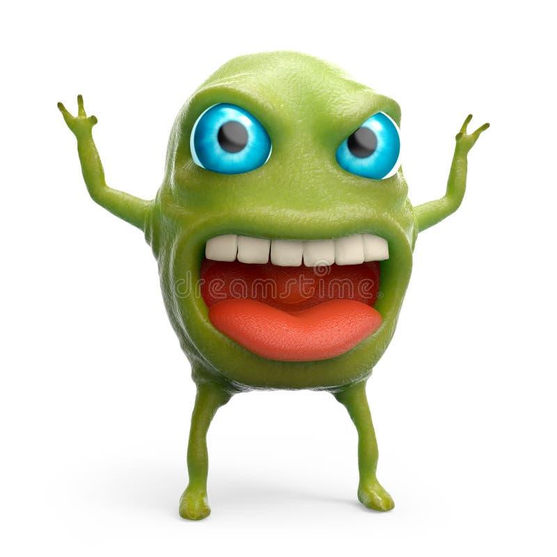 Snot slime monster. Cartoon 3d slime monster scares raising his hands. 3d illustration royalty free illustration
