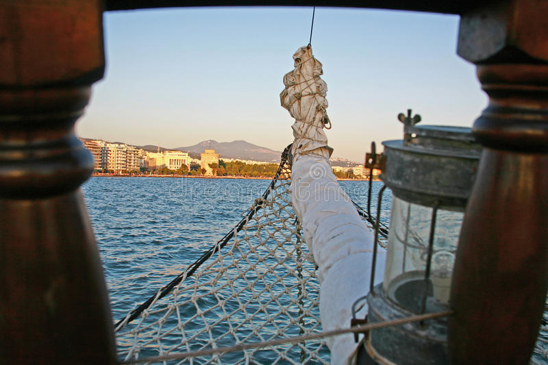 Snout of dinghy. The View at Thessaloniki from the excursion boat along the Aegean Sea. The White Tower in Thessaloniki is an architectural monument and a museum royalty free stock photography