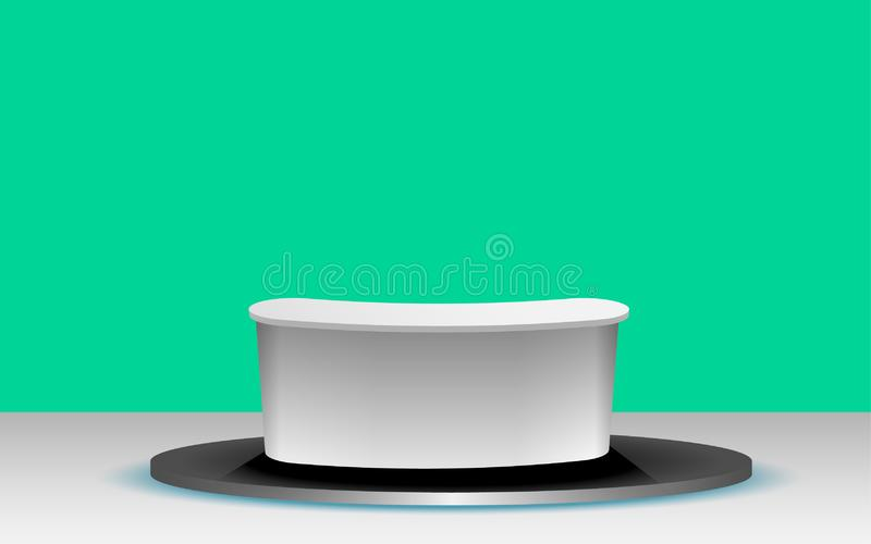 Black stand on the white floor. White table with green background in the news studio room royalty free illustration