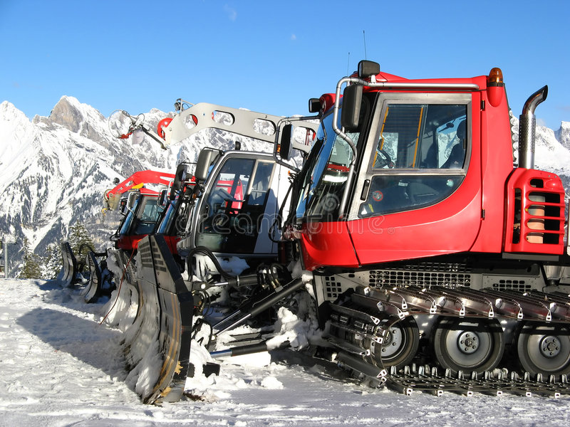Snow. Machines for skiing slope preparations stock photography