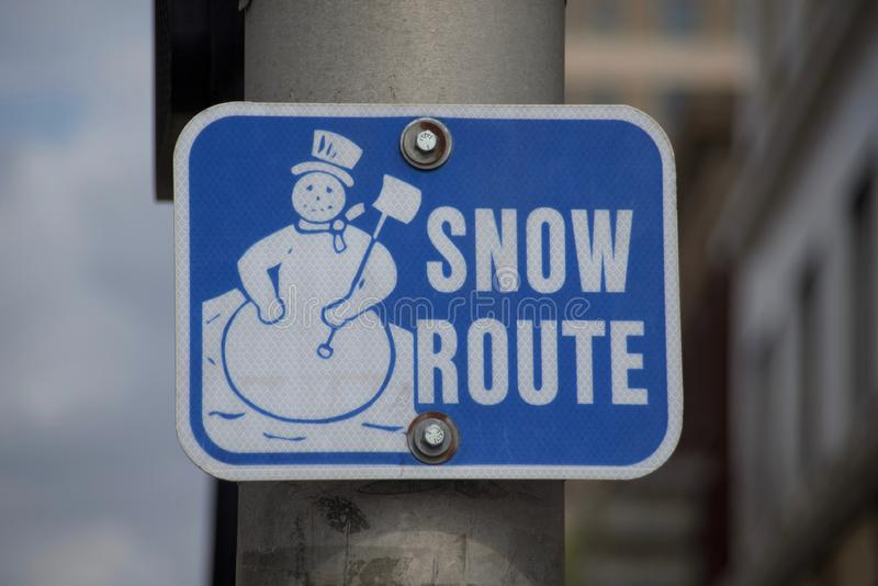 Snow Alternate Route. A snow route is an alternate route that commuters can travel to alleviate and cut down commute time between destinations in the event of a stock image