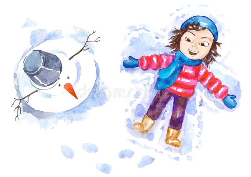 Download Snow angel stock illustration. Image of outdoor, nobody - 22396923