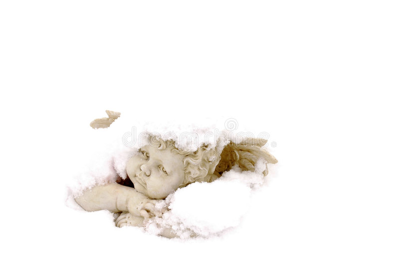Snow Angel in love. Snow Angel on white background stock images