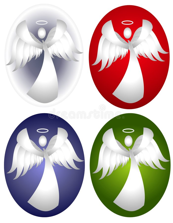 Snow Angel Oval Designs. An illustration featuring your choice of oval snow angel backgrounds in white, red, green and blue vector illustration