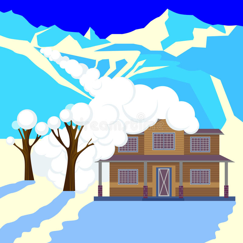 Snow avalanche in mountains covered cottage roof and trees. Strong snowfall in winter. Natural disaster realistic vector illustration. Snowslide or snowslip vector illustration