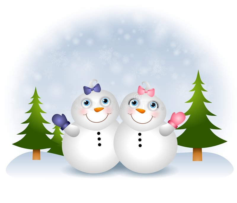 Snow Babies Snowmen royalty free illustration