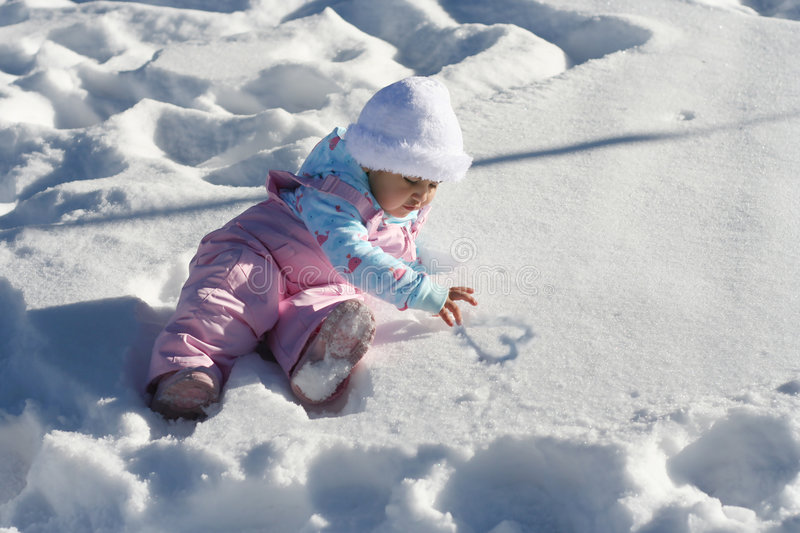 Download Snow Baby Heart stock image. Image of sunny, playing, winter - 5831075