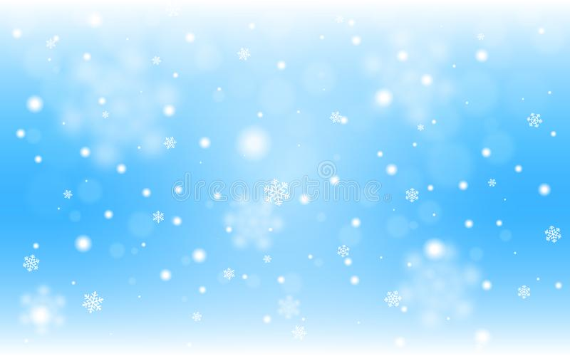 Snow background blue. Christmas snowfall with defocused flakes. Winter concept with falling snow. Holiday texture and vector illustration