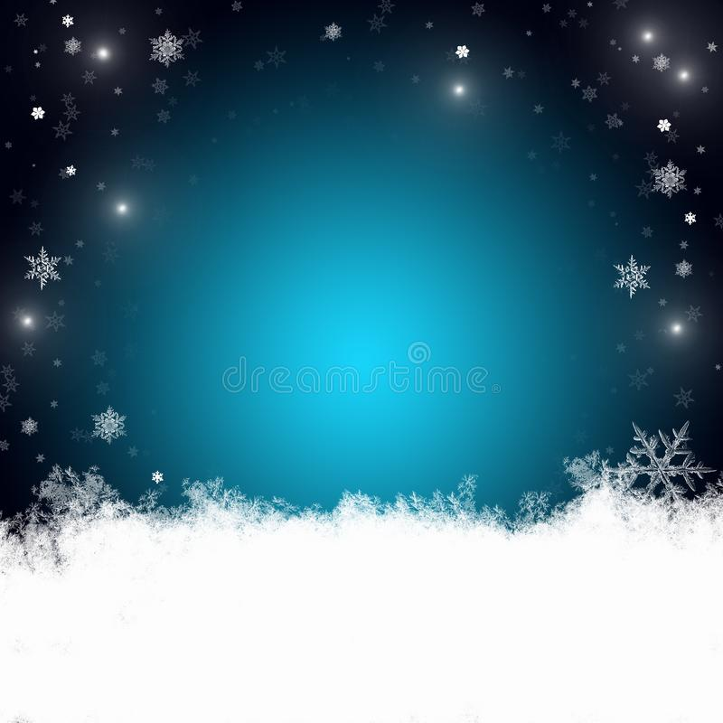 Snow background blue. Christmas snowfall with defocused flakes. Winter concept with falling snow. Holiday texture and white stock images
