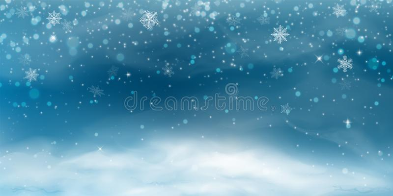 Snow background. Winter christmas landscape with cold sky, blizzard vector illustration