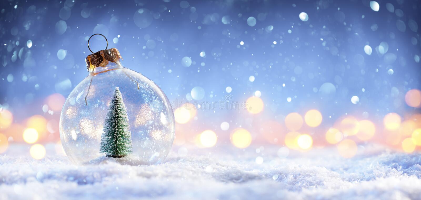 Snow Ball With Christmas Tree In It And Lights. On Winter Background vector illustration