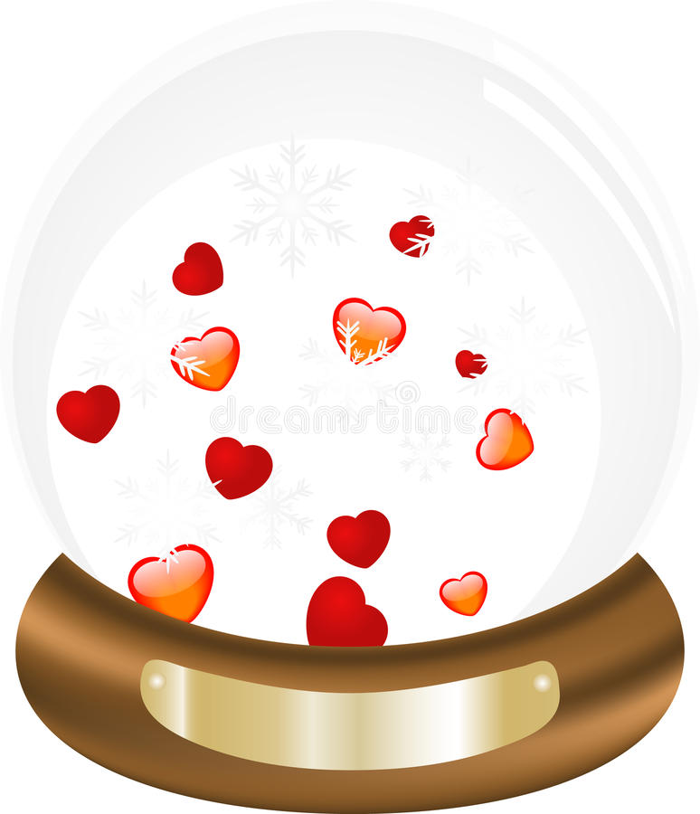 Snow Ball With Hearts Royalty Free Stock Photography