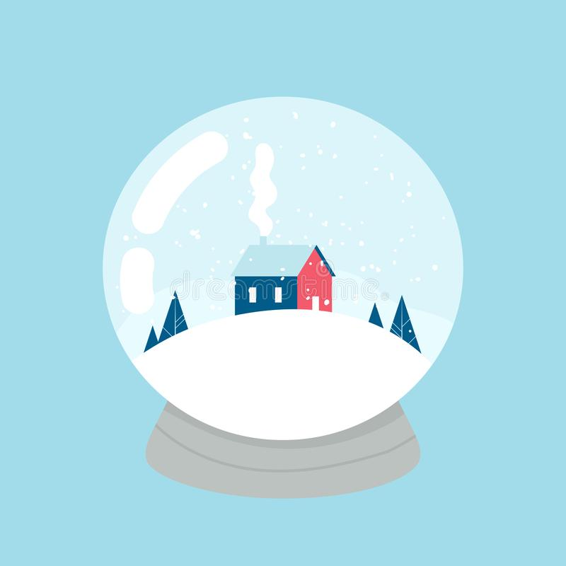 Snow ball. House, forest and mountains inside. Vector vector illustration