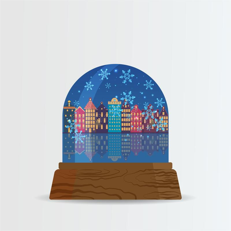 Snow ball, snow globe with snow fall and Amsterdam street with f. Rozen Amstel river cartoon illustration for poster, card for print and web decoration happy new stock illustration