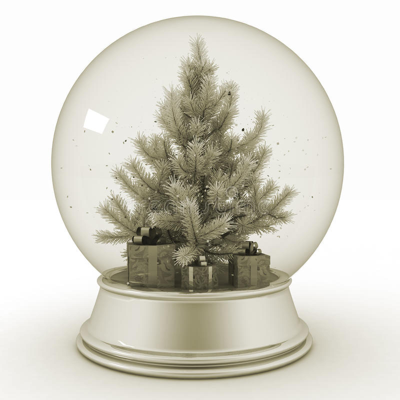 Free Snow Ball With Christmas Tree And Presents Stock Photo - 80935190