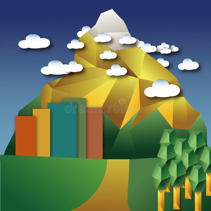 Snow-berg and city and tree. A snow-berg behind the city , cloudy around it royalty free illustration