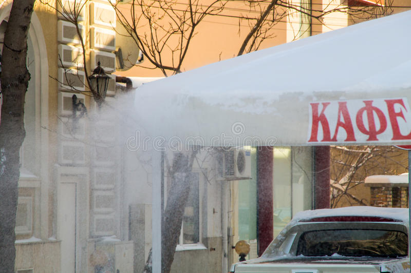 Snow blizzard on the roofs of hotels in Pomorie, Bulgaria, winter 2017 royalty free stock photos