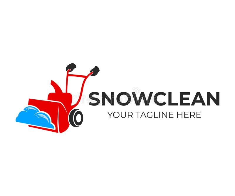 Snow blower or snowplow to clear snow, logo design. Home snow-removing machine or snow blower to remove snow, vector design. And illustration royalty free illustration