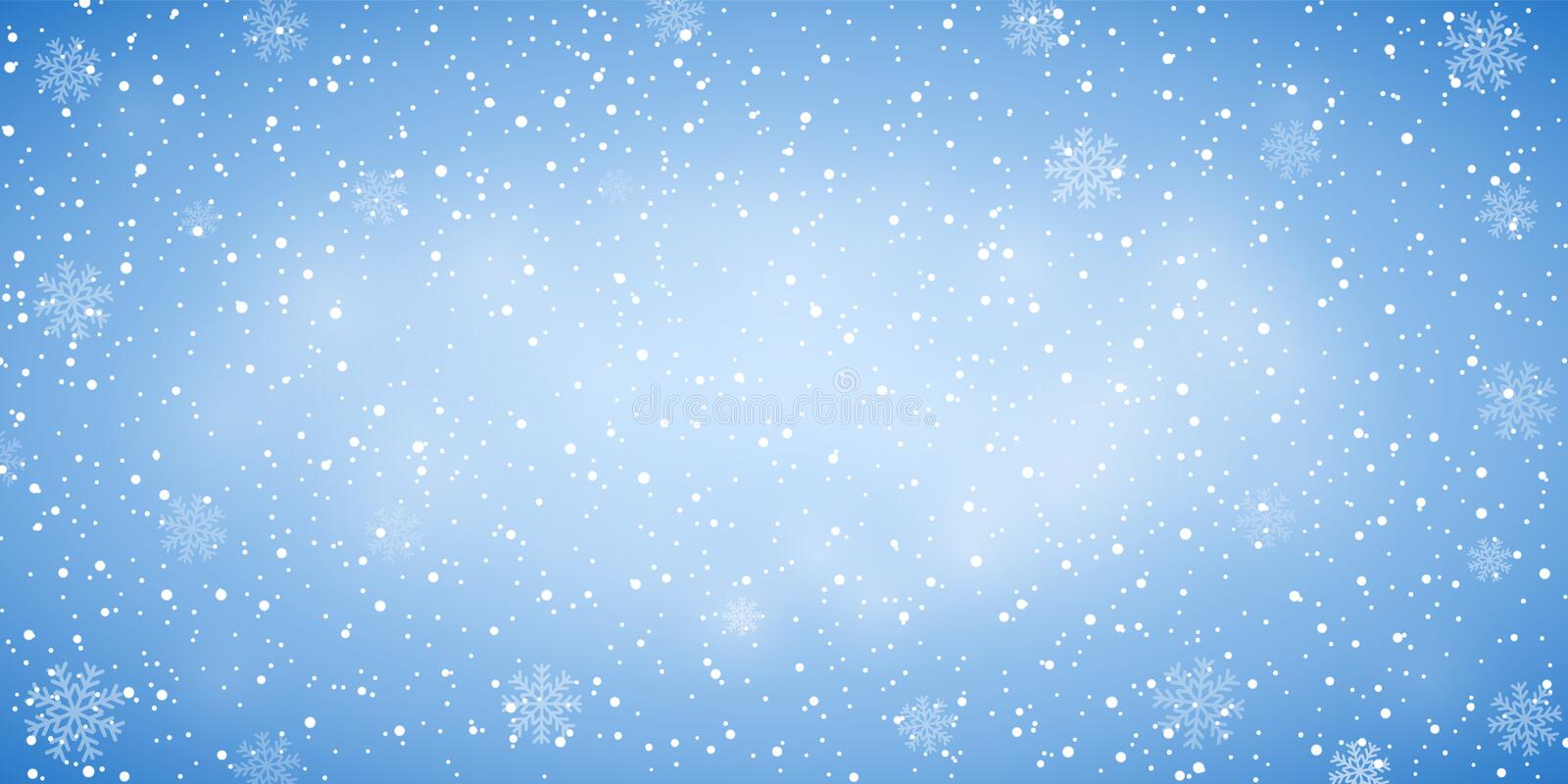 Snow blue background. Christmas snowy winter design. White falling snowflakes, abstract landscape. Cold weather effect vector illustration