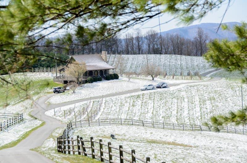 Snow on Blue Ridge Parkway Cottage stock photos
