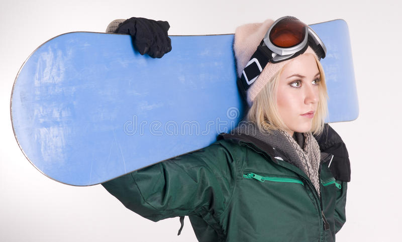 Download Stunning Blond Female Snow Boarder Snow Board Stock Image - Image: 23393945