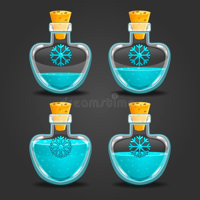Snow bottles with different liquid level vector illustration