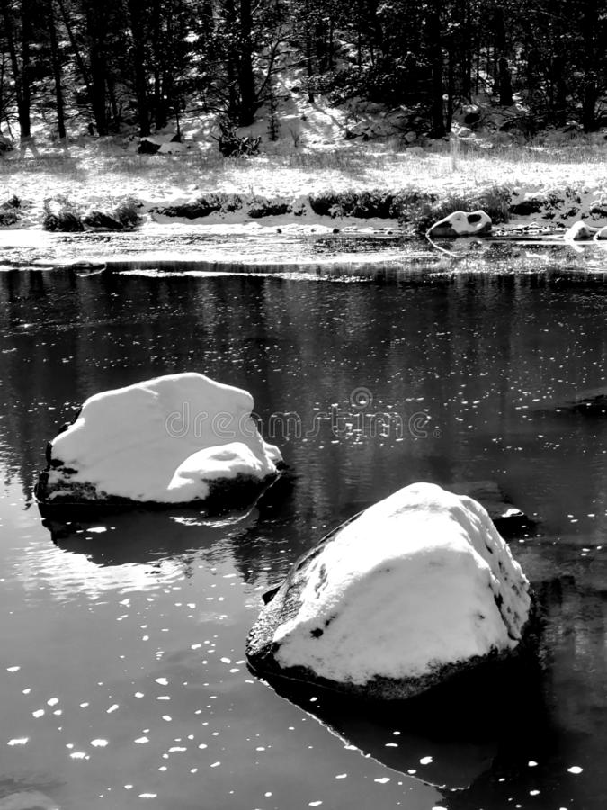Snow boulder in river. Two large boulders covered in fresh snow in the Crooked River in Central Oregon with trees on the banks reflecting in the water royalty free stock image