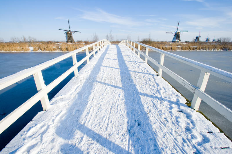 Snow bridge royalty free stock images