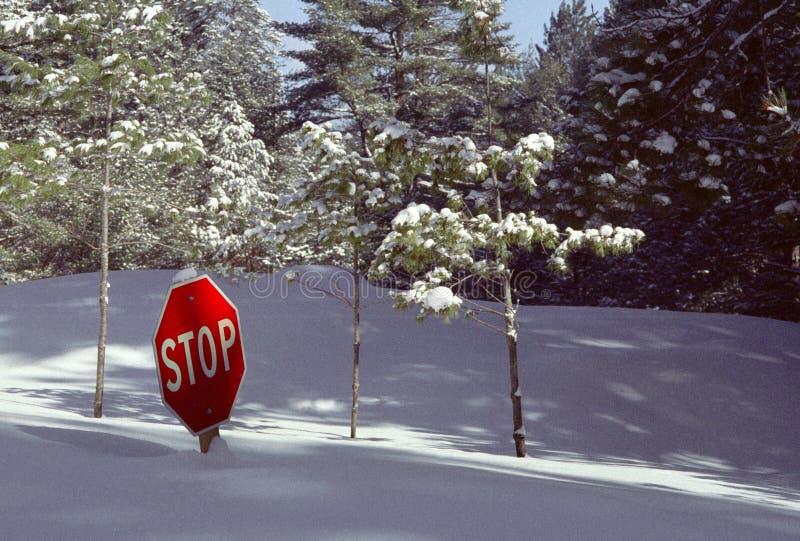 Snow-buried Stop Sign #2 royalty free stock photos