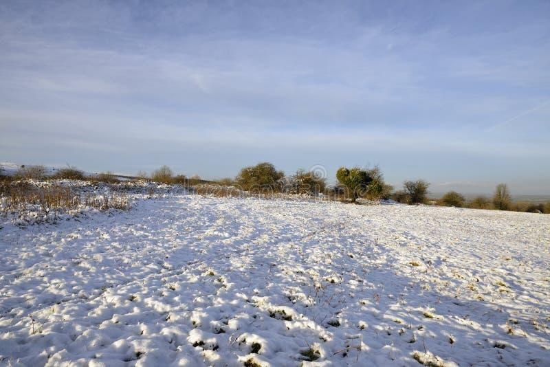 Snow on Burrington Ham. Morning Sun on Snow on Burrington Ham, Mendip Hills, Somerset stock photos