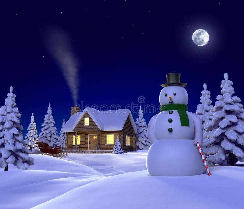 Download Snow cabin stock illustration. Image of snowman, sleigh - 9421550