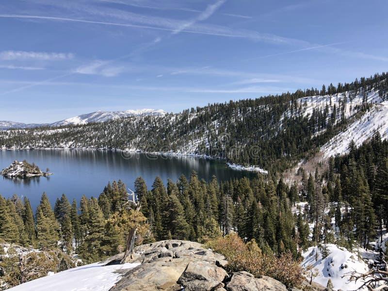 Snow in california stock photos