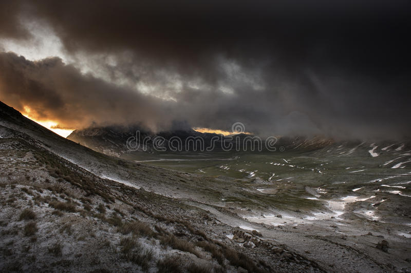 Snow in Campo Imperatore, Abruzzo, Italy royalty free stock image