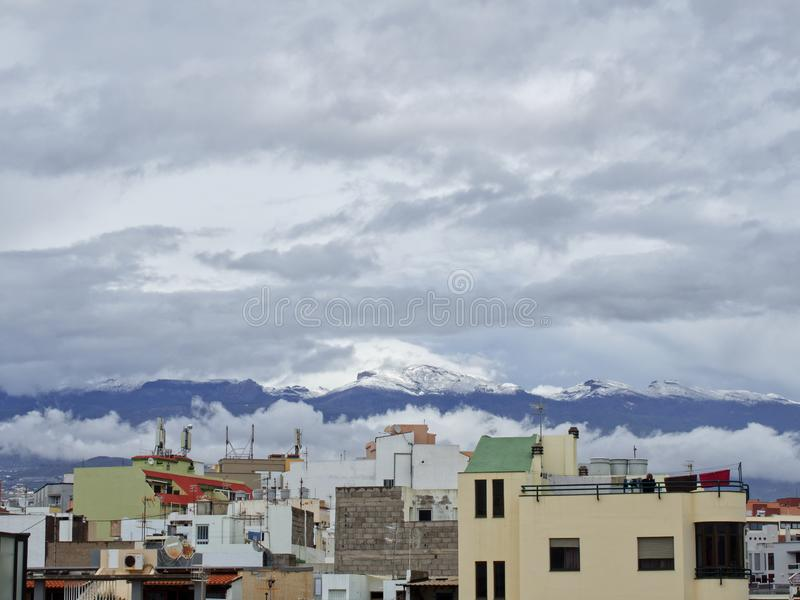 Snow in Canary Islands, Tenerife, Spain stock images