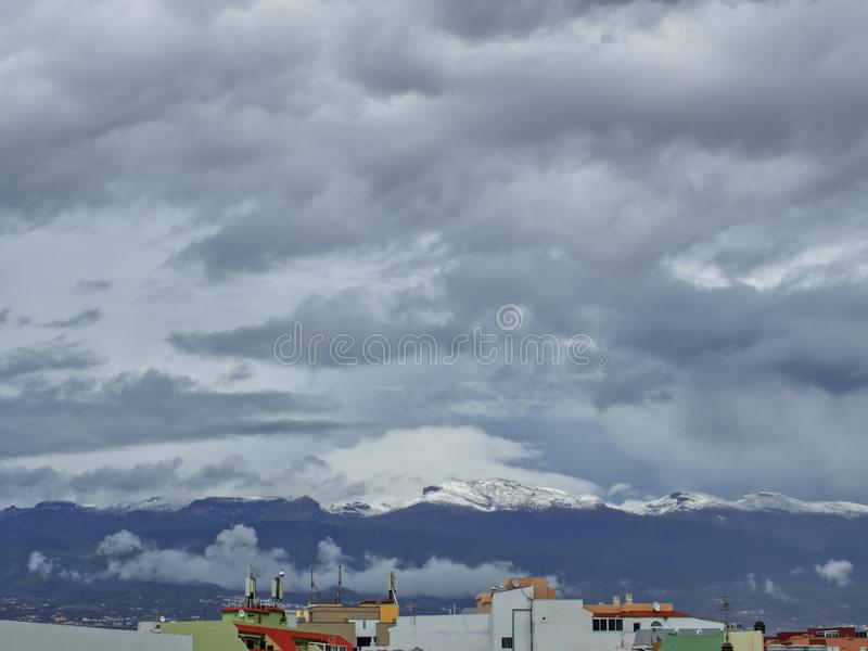 Snow in Canary Islands, Tenerife, Spain royalty free stock photography