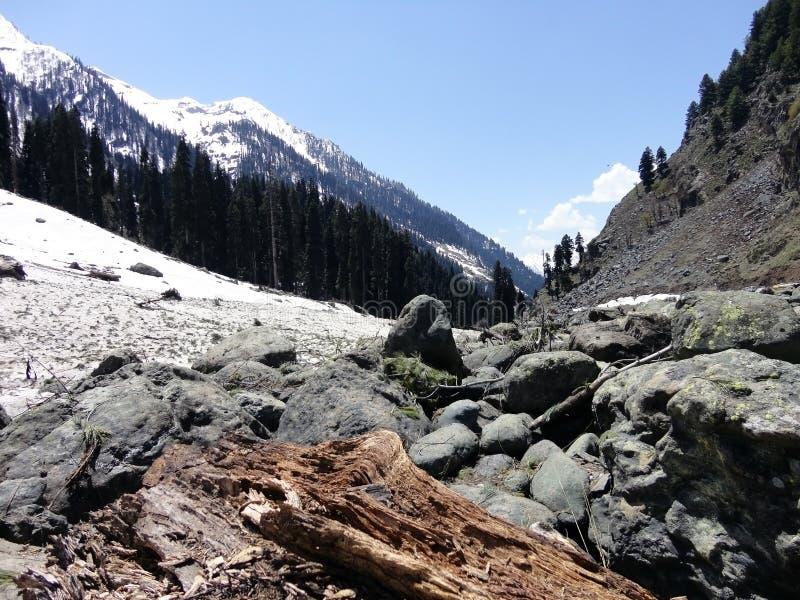 Snow-capped bergen van Kashmir, Srinagar, India stock foto's