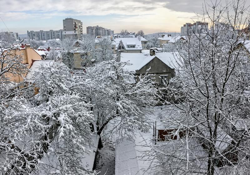 Snow-capped city of Lviv top view royalty free stock photos