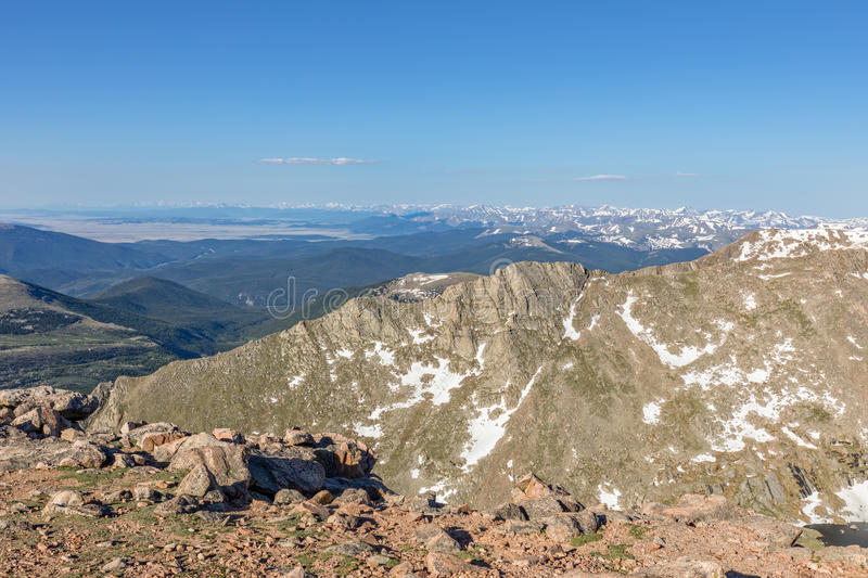Snow Capped Colorado Rockies in Summer. The snow capped Colorado rockies in summer stock images