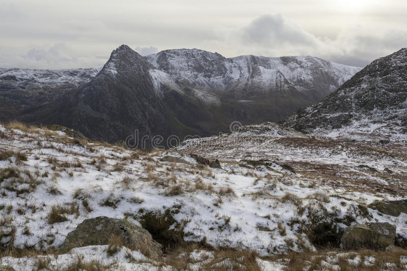Snow capped Glyderau. A very wintry scene looking towards Tryfan and the Ogwen valley stock images