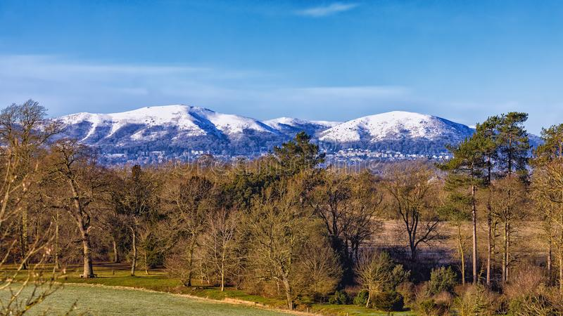 Snow-capped Malvern-Heuvels, Worcestershire, Engeland royalty-vrije stock fotografie