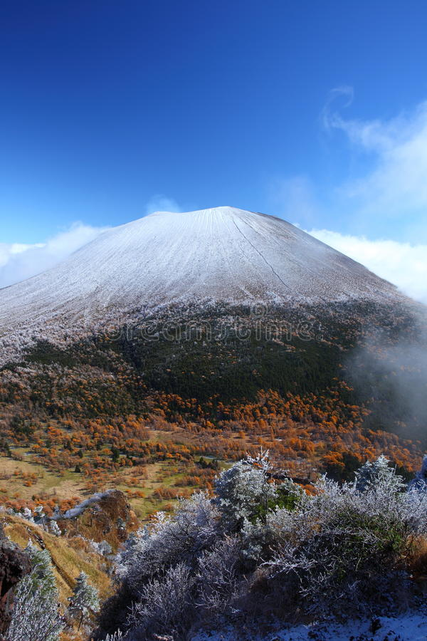 Snow capped mountain. Snow capped Mt.ASAMA in japan royalty free stock photo